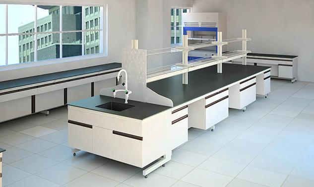 防腐蚀带水柜化验室中央钢木桌