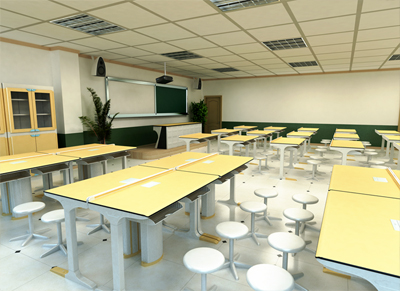 两人位物理实验室桌学生实验桌